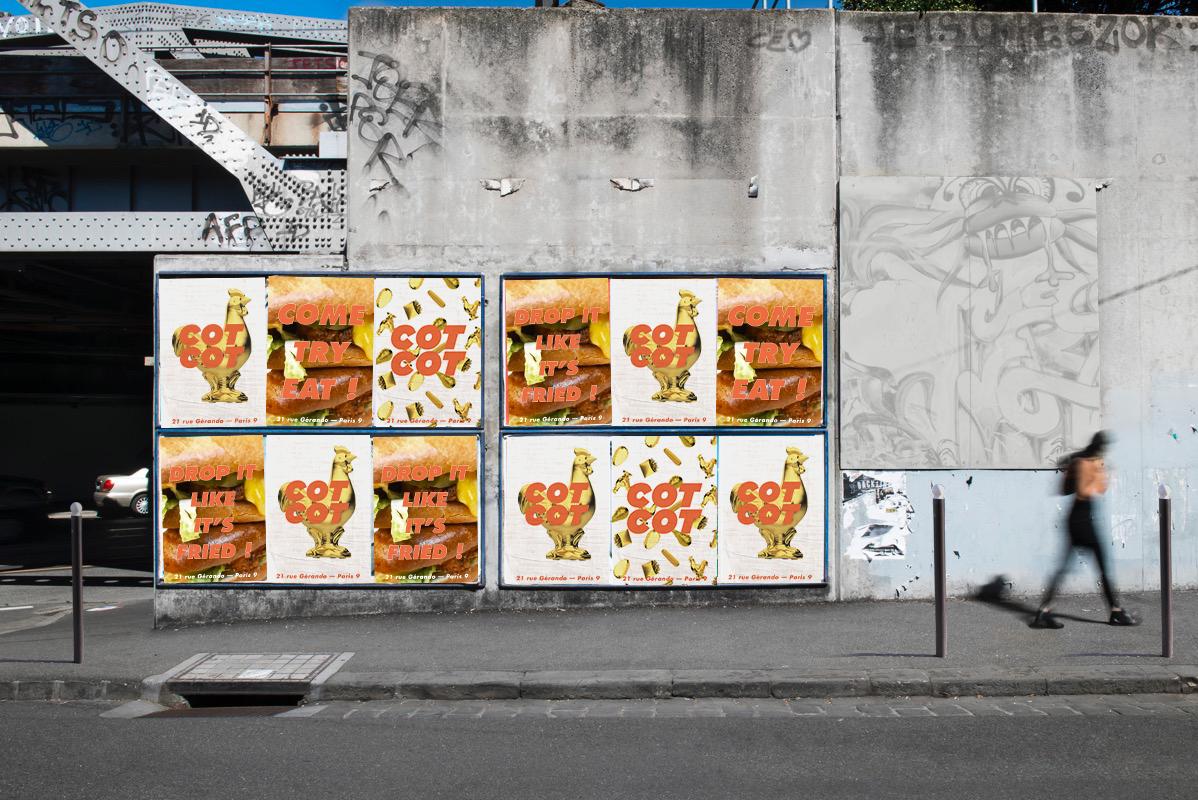 affichage sauvage COTCOT poulet frit paris
