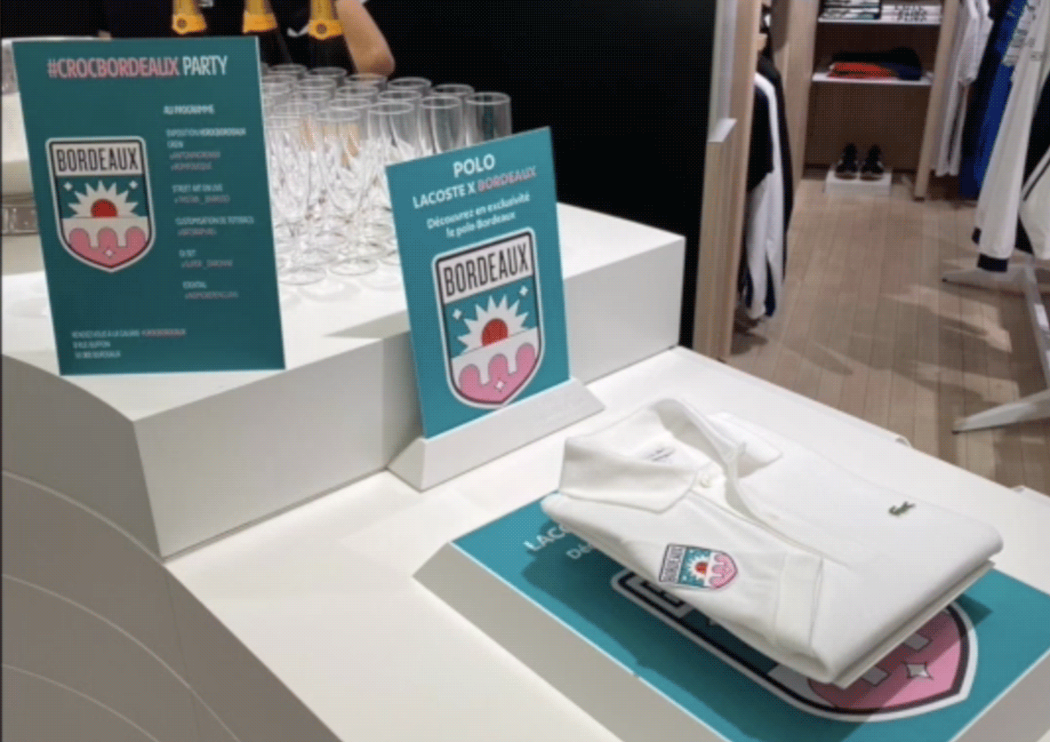 display boutiqu lacoste croc bordeaux activation