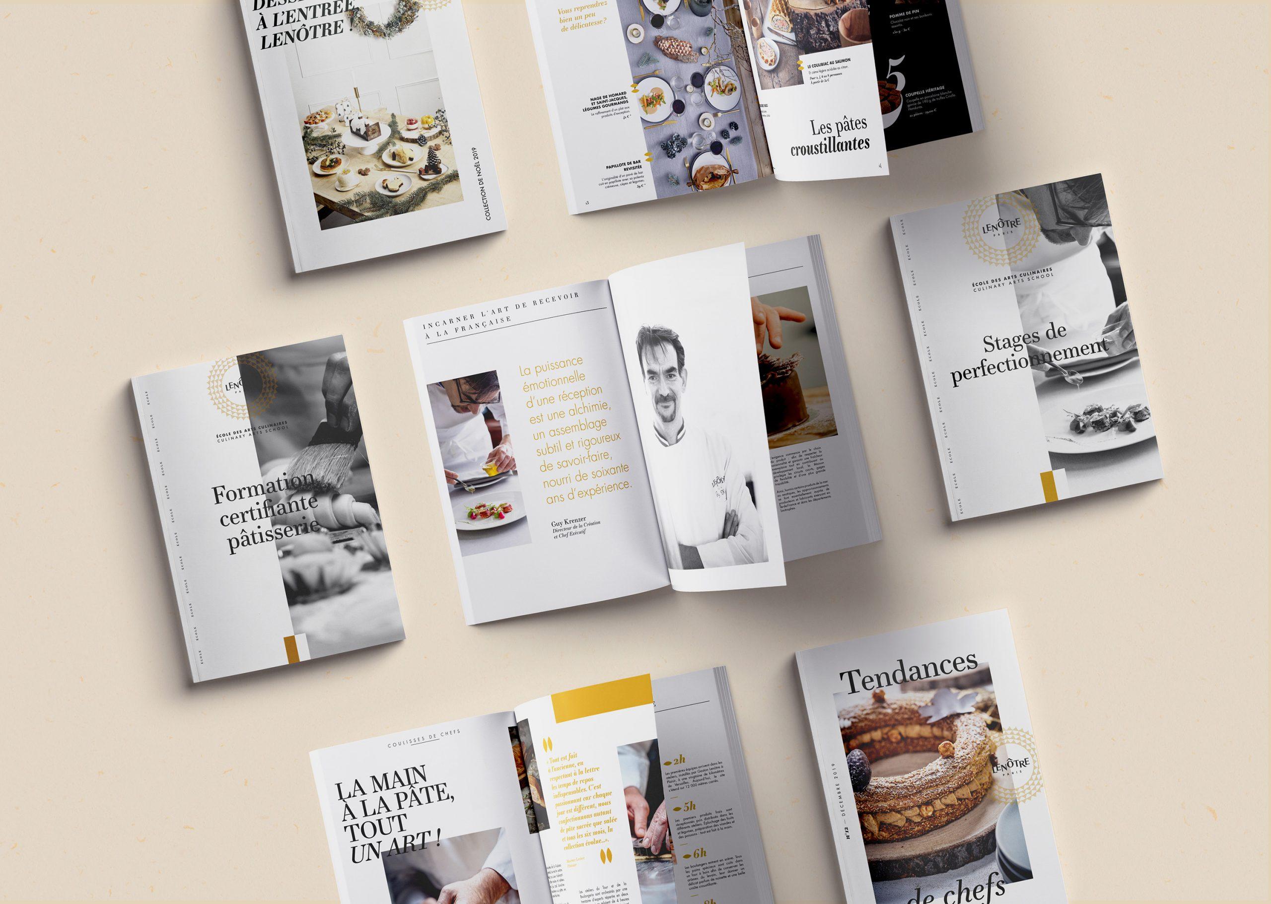 Application sur catalogues de la charte éditoriale Lenôtre