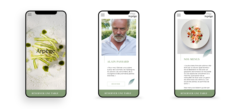Site mobile L'Arpège Alain Passard