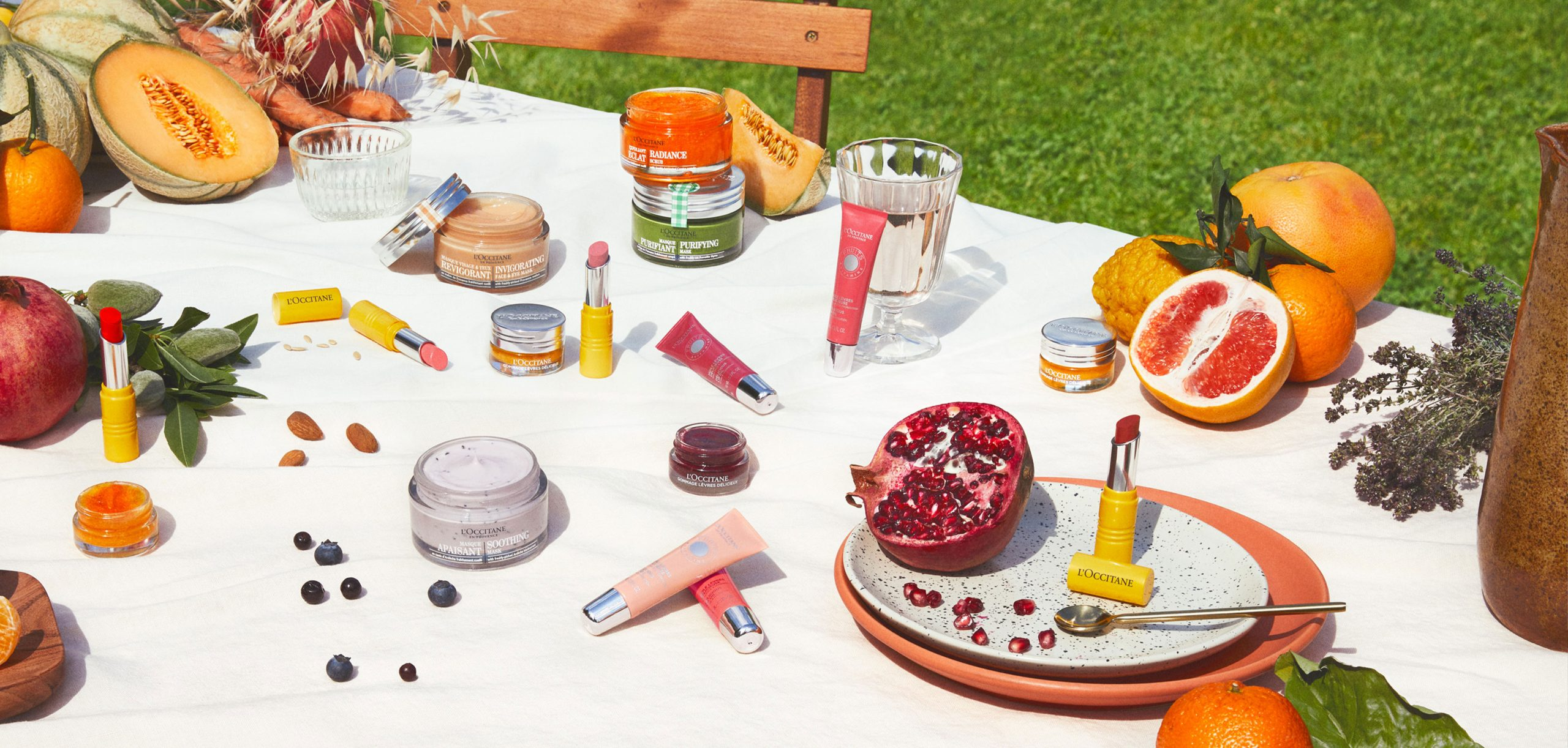 L'Occitane reveal your colors table produits et fruits