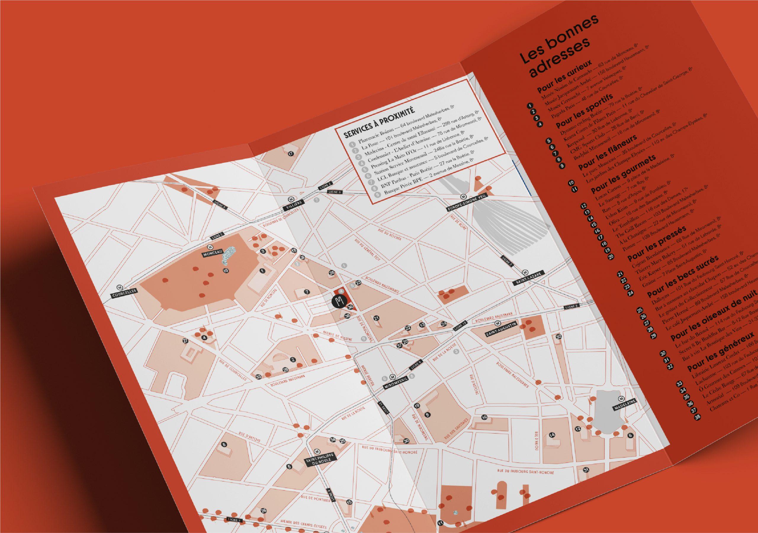 Plan guide du quartier projet immobilier MIO rue de miromesnil